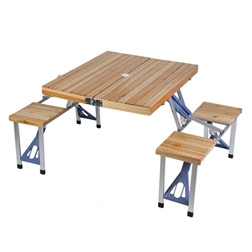 Folding Picnic Table, Portable Lightweight Folding Suitcase Picnic Table w/4 Built-In Chairs For Outdoor Camping Tailgating Picnics Serving Food (Wood & Aluminium)