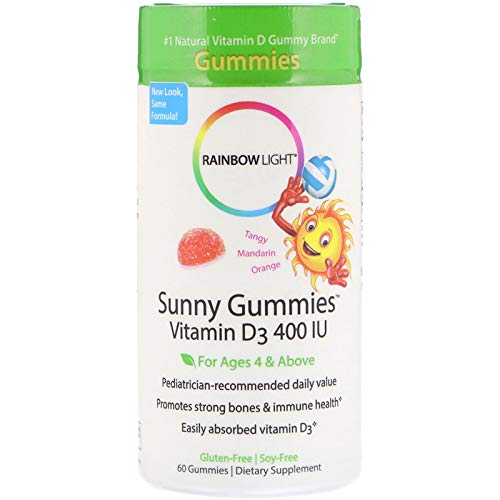 Rainbow Light - Sunny Gummies Vitamin D3 400 IU, Support for Healthy Bones, Muscles, and Immunity in a Family-Friendly Chewable with Vitamin D3, Soy-Free, Gluten-Free, Tangy Tangerine, 60 Gummy Drops