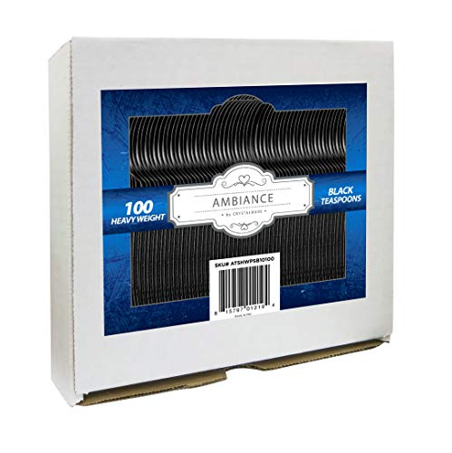 Heavy Weight Black Plastic Tea Spoons 100/box
