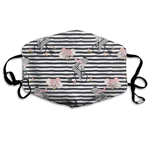 (4 Bonjour Charlie The Bear - Mix and Match Stripes Anti Dust Mask Anti Pollution Washable Reusable Mouth Masks)