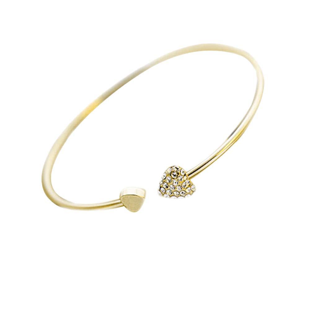 Malltop Shawn Bracelet Open Gold Plated Diamond Love Bracelet Double Heart Bracelet Gifts for Teen Beach Ankle Circle