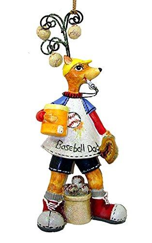 "Kurt Adler Whimsical Baseball Dad Reindeer Christmas Ornament 5"" #W9234"