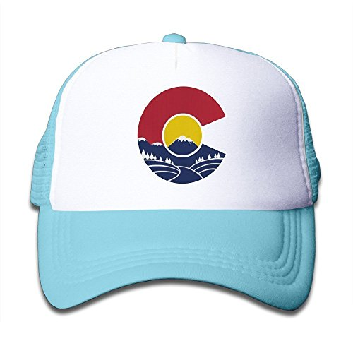 Old Style Baseball Cap - Waldeal Rocky Mountain Colorado C Toddler Sunscreen Trucker Caps Style Great for Kids SkyBlue
