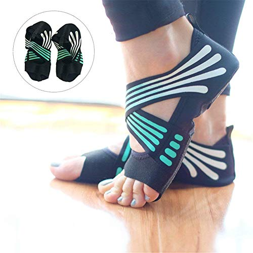Women Five Yoga Dance Socks in Toe Socks Open Toe 1 Turquoise 2 Soles Non Half Shoes 38 Shoes Pilates Grip and 37 Skid Fitness Cotton for Yoga Anti Toe Slip 6F6Hr