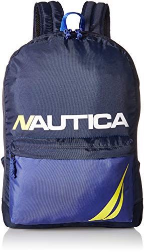 Nautica Men's Horizontal Zip Polyester Backpack with Padded Laptop Sleeve, Blue), One Size