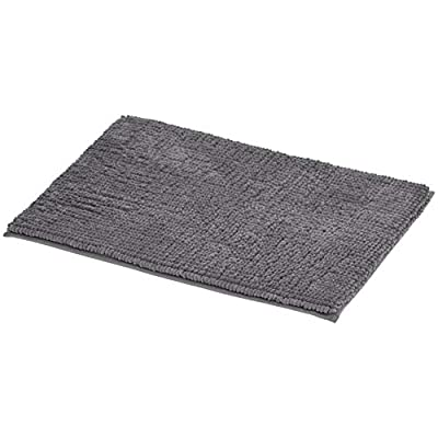 AmazonBasics Chenille Loop Memory Foam Bath Mat - Large, Grey - Memory foam mat for use outside of your shower, bath, sink, vanity and more Highly absorbant, looped chenille exterior PVC bottom that will prevent mat from slipping - bathroom-linens, bathroom, bath-mats - 415vHxGLmeL. SS400  -