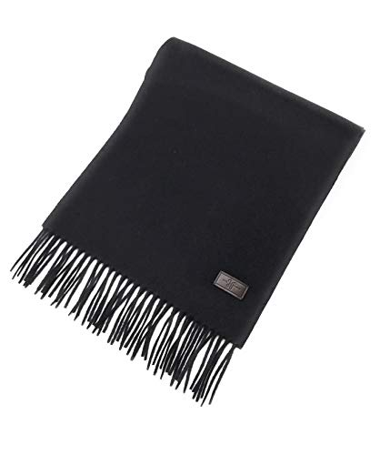 (Men's Cashmere Scarf – Black, 100% Italian Cashmere, 72 inches x 12 inches, by Hickey)