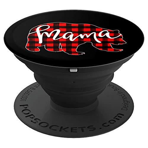 Red Plaid Mama Bear Matching Family Name Buffalo Check Mom - PopSockets Grip and Stand for Phones and Tablets