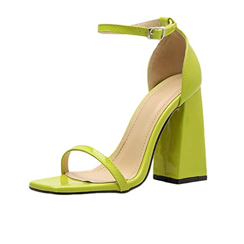 MmNote Women Shoes, Womens Single Band Hundreds Classic Chunky Block High Heel Pump Sandals Shoes Yellow