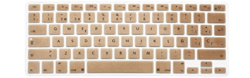 """HRH Spanish Language Ultra Thin Silicone Keyboard Cover Skin for MacBook Air 13"""" MacBook Pro with or without Retina Display 13""""15"""" 17"""" Apple Wireless Bluetooth Keyboard MC184LL/B (US Version) -Gold"""