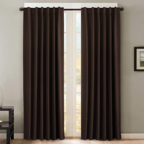 H.VERSAILTEX Thermal Insulated Blackout Curtains for Bedroom Back Tab/Rod Pocket Window Treatment Panels Chocolate Brown 52