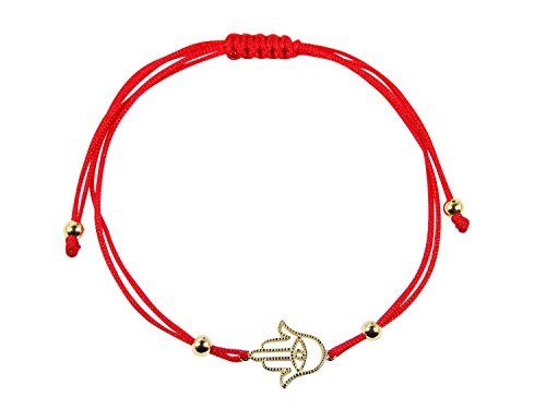 Red Kabbalah String Bracelet with Sterling Silver Hamsa Hand Charm (Gold plated) ()