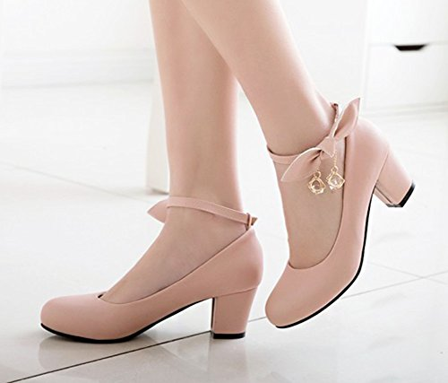 Chunky Pink Round Ankle Womens With Heel Aisun Toe Dressy Strap Bow Shoes Cut Fashion Low Buckled Mid Pumps gTS4zq