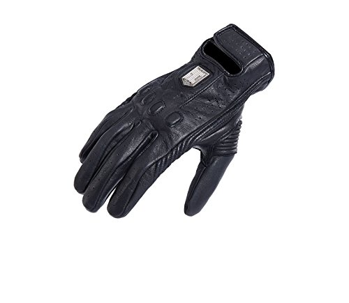 Ocamo Men Leather Riding Gloves Touch Screen Anti-slip Breathable Cross-country Racing Gloves black XL