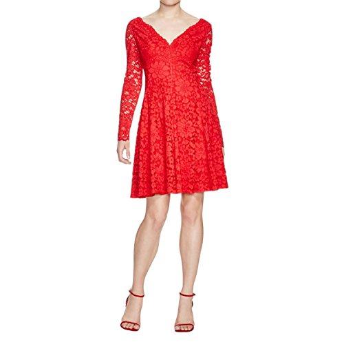 - Vera Wang Women's Long-Sleeve Lace Dress, Red, 6