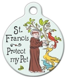 St. Francis Protection Pet ID Tag for Dogs and Cats - Dog Tag Art - LARGE SIZE by Dog Tag Art