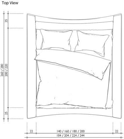 wei/ß//schwarz Bett SEDUCCE 180x200 cm Designerbett Ehebett Doppelbett Hotelbett mit LED-Beleuchtung Kunstleder
