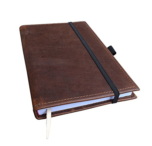 Large Handmade Leather Journal with Pen Loop and Leather Bookmark – 8 X 5.75 with Elastic Closure (Crazy Horse Dark Brown)