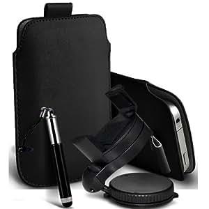 Wiko Luna Negra Protección Premium de PU Leather Tire Cord Tab Slip In Pouch Pocket piel con la aguja retractable de la pluma y de 360 ??Sostenedor giratorio del parabrisas del coche cuna Negro por Spyrox