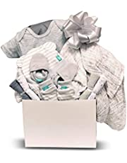 Newborn Baby Unisex Apparel Gift Basket with Fleece Blanket, Hat, Non-Scratch Mittens, Socks, 4 Washcloths, and Cotton Pajamas - Expecting Moms, Parent, Infants