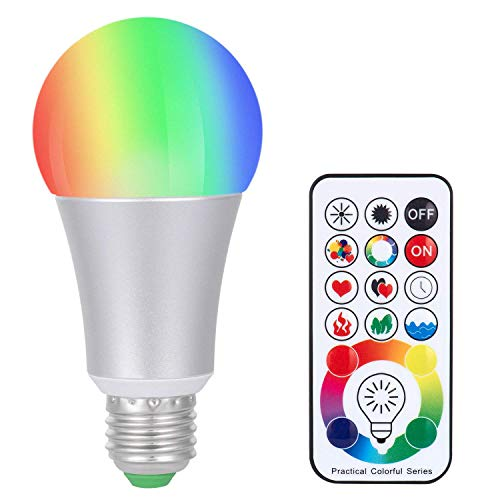 SUNNEST Dimmable E26 LED Light Bulb [Upgrade], 120 Colors LED Light Bulb, 10W RGBW Color Changing Light Bulb with Remote Control, Memory&Timing, Decorative Light for Home, Stage, Party and More