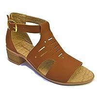 Sandalia de tacón bajo cuadrado 4 cm, perforado para mujer
