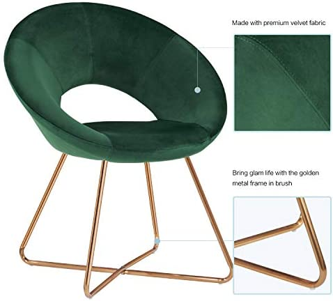 415vKgnhcLL. AC Duhome Modern Accent Velvet Chairs Dining Chairs Single Sofa Comfy Upholstered Arm Chair Living Room Furniture Mid-Century Leisure Lounge Chairs with Golden Metal Frame Legs Set of 2 Dark Green    Product Description