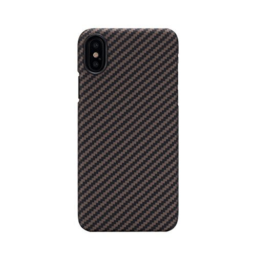 pitaka Slim Case Compatible with iPhone X 5.8, MagCase Aramid Fiber [Real Body Armor Material] Phone Case,Minimalist Strongest Durable Snugly Fit Snap-on Case - Black/Golden