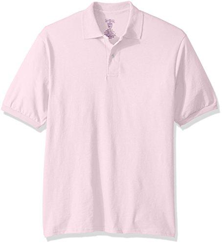 Jerzees Men's Spot Shield Short Sleeve Polo Sport Shirt, Classic Pink, Medium