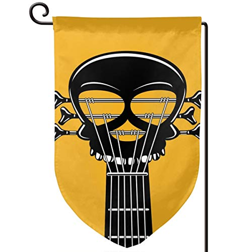 lsrIYzy Garden Flag,Guitar Riff with A Skull Passionate Music Heavy Tunes,12.5x18.5 inch ()
