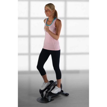 Black Indoor Elliptical Trainer Machine Sports Fitness Exercise Cardio Workout Training Home Gym Stepper Machine Aerobic Climber Adjustable Tension Workout Intensity Electronic Fitness Monitor Display