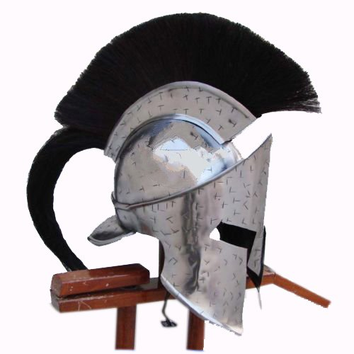 (MEDIEVAL~KING_LEONIDAS SPARTAN_HELMET_ROMAN BLACK 300 MOVIE HELMET W/ RED PLUM)
