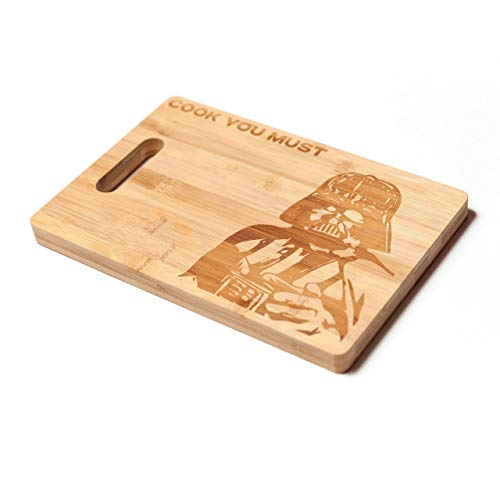 TemTar Darth Vader cook you must Engraved Bamboo Wood Kitchen Cutting Board with Handle Star Wars Foodie Gift