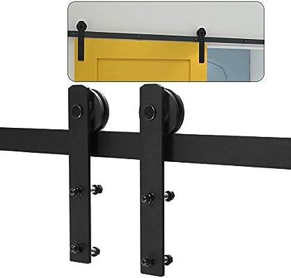 XHKJ 153cm 5FT Herrajes Puertas Correderas Kit de Riel Puerta Corredera Granero Para Puerta Suspendida de Madera: Amazon.es: Bricolaje y herramientas