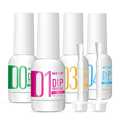 MEFA 4pcs Dip Powder Gel Liquid Set with Activator, Base, Top, Brush Saver 0.5oz, Dipping Powder Acrylic Nail Manicure Pedicure Step1-4, Air Dry Nail Art Decoration Manicuring