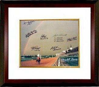 Stewart Elliott signed Churchill Downs Kentucky Derby Winners (2004) Horse Racing Rainbow 16x20 Photo 7 signatures Custom Framed