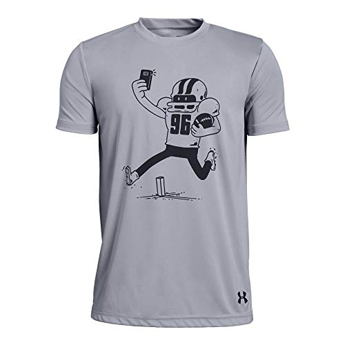 Under Armour Boys' Football Selfie Short Sleeve T-Shirt, Mod Gray Light Heather (011)/Black, Youth X-Large