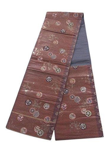 コロニアル住む歌リサイクル 袋帯 正絹 六通 花鳥の円文