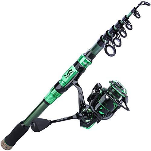 Sougayilang Fishing Rod Reel Combos,24Ton Carbon Fibre,Portable Telescopic Fishing Pole Spinning reels for Travel Saltwater Freshwater Fishing