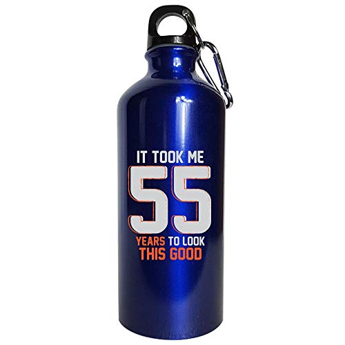 Funny 55th Birthday Pun Design - Unique 55 Year Old Gift Ideas - Water Bottle Metallic Blue