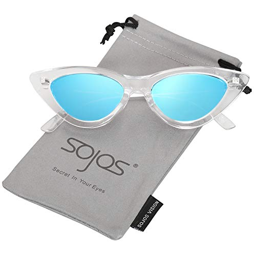SOJOS Retro Vintage Narrow Cat Eye Sunglasses for women Clout Goggles Plactic Frame Cardi B with Transparent Frame/Blue Mirrored Lens -