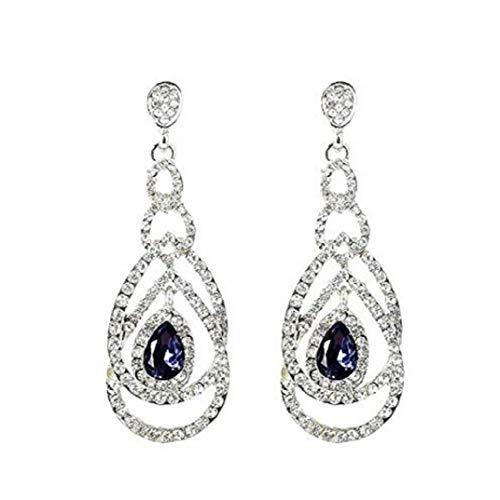 TOPOB Fashion Ladies Earrings, Luxurious Rhinestones Cutout Blue/Red Gemstone Long Pendant Earrings (Black)