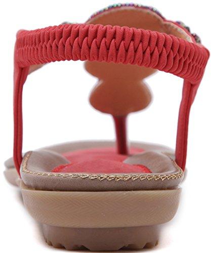 Plano Thong Sandalias Mujer Playa Con brillo Beads Antideslizante Soft Sole Elástico Bohemio Sandalias de BIGTREE Rojo