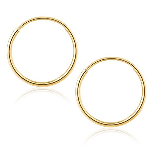 14k Yellow Gold Women's Endless Tube Hoop Earrings 1mm-1.5mm Thick 10mm - 60mm -