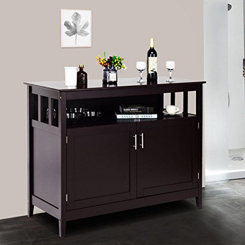 Dining Room Set Cupboard - Costzon Kitchen Storage Sideboard Dining Buffet Server Cabinet Cupboard with Shelf (Espresso)