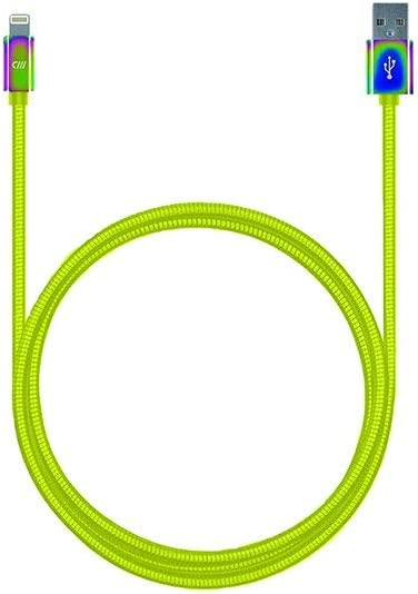 Double Braided Lightning Charging Cable (3 feet) - MFi Certified iPhone Charger - Tangle Free, Wear Resistant - Compatible with iPhone 8/8 Plus, X, iPad, iPad Pro, Mini - Neon Yellow