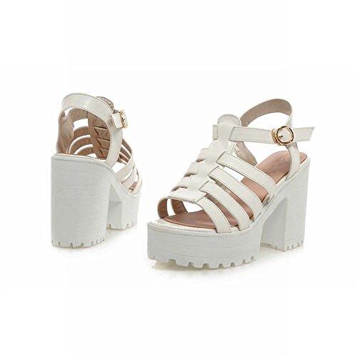 Carol Chaussures Chic Femmes Boucle Douce Mode Été Élégance Plateforme Chunky Haut Talon Sandales Blanc