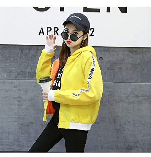 Fashion Outerwear Chic Lunga Donna Gelb Pattern Leggero Cappuccio Ragazza Giubbino Eleganti Giacca Baggy Casual Autunno Cerniera Con Stampato Cappotto Manica Primaverile 1Axaqpw