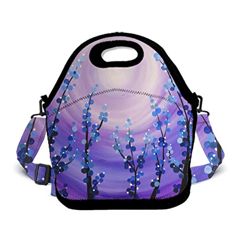 POP MKYTH Halloween Stranger Starry Flower Thing Purple Insulated Lunch Box Lunch Tote Bag School Backpack with 3D Adjustable Shoulder Strap for Women Men Girls Boys Kids -