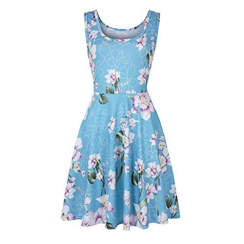 Aotifu Women's Sleeveless A-Waist Mid-Length Dress Casual Horn Dress Women's Summer Beach Hawaii Dress(Sky Blue,XL) ()